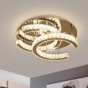 Modernism C-Shape Ceiling Light Clear K9 Crystal LED Flush Mount Recessed Lighting in Chrome