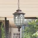 Frosted Glass Black Ceiling Lamp Lantern 1 Head Rustic Pendant Lighting Fixture for Outdoor