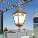 Pyramid Balcony Suspension Lighting Rural Frosted Glass 1-Bulb Black/Bronze Pendant Light Fixture