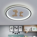 Kids Round Ceiling Lamp Acrylic LED Nursery Flush Mount Light with Wood Giraffe in Black/Pink/Blue