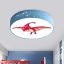 Acrylic Drum Ceiling Flush Cartoon Red/Blue/Green LED Flush Light Fixture with Dinosaur Pattern for Nursery