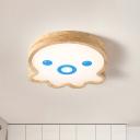Cartoon Octopus LED Ceiling Flush Wood Kids Bedroom Flushmount Lighting in White/Warm Light