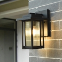 Clear Ribbed Glass Rectangle Wall Light Classic 1 Head Outdoor Wall Sconce in Black