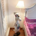Fabric Chef Horse Standing Lamp Cartoon 1 Bulb White Stand Up Light with Bell Shade for Nursery