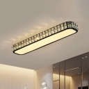 Black/White Linear Ceiling Lamp Simple Faceted Crystal LED Hallway Flush Light Fixture, 15