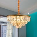 4/6 Bulbs Crystal Chandelier Luxury Gold Layered Round Living Room Ceiling Pendant Light