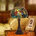 1 Head Bedroom Nightstand Lamp Victorian Coffee Fruit Patterned Table Light with Domed Stained Glass Shade in Coffee