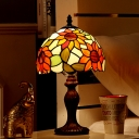 Victorian Bowl Shade Night Lamp 1-Bulb Stained Art Glass Sunflower Patterned Table Light in Dark Brown