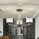 Prismatic Crystal Cube Chandelier Contemporary 3 Bulbs Bedroom Ceiling Pendant in Black
