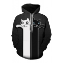 Unique Boys Cat Zombie 3D Printed Long Sleeve Drawstring Pouch Pocket Relaxed Hoodie