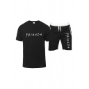 Stylish Letter Friends Printed Short Sleeve Crew Neck Regular Fitted T Shirt & Drawstring Waist Contrasted Relaxed Shorts Set