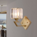 Gold Finish 1 Head Wall Mounted Lamp Simplicity Crystal Prism Wall Lighting Ideas with Arm