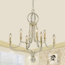 Crystal Bead Coated Candle Chandelier Traditional 8 Heads Living Room Pendant Lighting Fixture