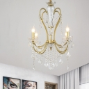 4/6-Bulb Octopus Design Candle Chandelier Country Gold Crystal Strand Ceiling Pendant