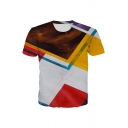White Geo 3D Patterned Colorblock Short Sleeve Crew Neck Regular Fit Stylish Tee for Men