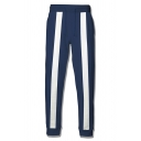 Leisure Mens Contrasted Stripe Printed Drawstring Waist Cuffed Ankle Length Slim Fit Sweatpants in Blue