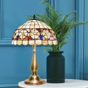 Domed Night Lamp 2-Head Shell Mediterranean Camellia Patterned Table Lighting in Gold with Pull Chain