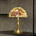 Bowl Shaped Table Light 2-Head Shell Tiffany Pull Chain Night Lamp in Brushed Brass with Rose and Dragonfly Pattern