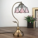 1-Light Bowl Shaped Night Table Lighting Tiffany Pink Stained Glass Desk Lamp with Gooseneck Arm