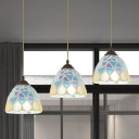 Dome Shade Multi Ceiling Light Baroque Cut Glass 3-Light Bronze Drop Pendant for Dining Room