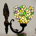 Tiffany Hummingbird Wall Lamp 1-Light Stained Art Glass Sconce Light in Bronze for Living Room