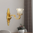 Carved Glass Blooming Wall Sconce Vintage 1 Head Living Room Wall Mount Fixture in Gold