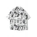 Street Boys Allover Comic Printed Short Sleeve Turn-down Collar Button down Curved Hem Oversize Shirt