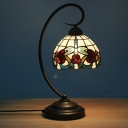 Cut Glass Dark Coffee Night Table Lamp Dome Shaped 1-Light Tiffany Style Blossom Patterned Desk Lighting