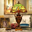 Single-Bulb Night Stand Light Tiffany Dragonfly Blue/Green Stained Glass Table Lamp with Pointed Shade