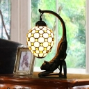 Jewel-Embellished Netting Oval Night Lamp 1 Bulb White Glass Baroque Style Table Light with Cat Base
