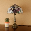 Victorian Domed Night Table Lighting 1-Light Cut Glass Nightstand Lamp in Bronze with Rose Pattern