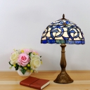 Bowl Shaped Nightstand Light Victorian Stained Glass 1-Bulb Bronze Finish Table Lamp