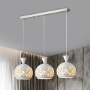 White Sphere Multi Pendant Light Modern 3-Light Metal Ceiling Suspension Lamp with Crystal Accent