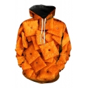 Unique Orange Allover Cookies 3D Printed Long Sleeve Drawstring Pouch Pocket Loose Hoodie for Men