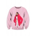 Fancy Pink Hotlinebling Cartoon Graphic Long Sleeve Crew Neck Loose Fit Pullover Sweatshirt for Boys