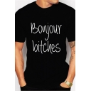 Classic Mens Letter Bonjour Bitches Printed Crew Neck Short Sleeve Slim Fit T-Shirt in Black