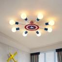 Radial Kids Bedroom Flushmount Metal 8-Head Cartoon Semi Flush Ceiling Light in Blue with Bare Bulb Design