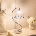 1-Bulb Umbrella Table Lamp Modernism Chrome Metal Nightstand Light with Draping for Bedroom