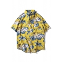 Beach Boys Allover Floral Coconut Tree Printed Short Sleeve Point Collar Curved Hem Oversize Shirt Top