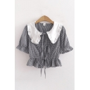 Amazing Ladies Plaid Printed Ruffled Trim Short Sleeves Stringy Selvedge Peter Pan Collar Lace up Front Relaxed Cropped T Shirt