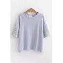 Vintage Womens Linen Floral Printed Half Sleeves Round Neck Slit Back Loose Fit T Shirt