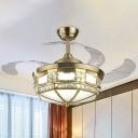 Geometric Metallic Hanging Fan Lamp Nordic LED Brass Semi Flush Ceiling Light with 3 Clear Blades, 42.5