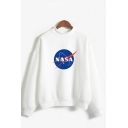 Stylish Ladies Letter Nasa Printed Long Sleeve Mock Neck Relaxed Pullover Sweatshirt