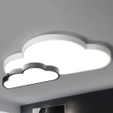 Nordic Cloudy Acrylic Flush Mount Lamp LED Ceiling Light in Black and White for Bedroom, Warm/White Light