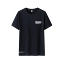 Stylish Mens Letter Smbushtion Printed Short Sleeve Crew Neck Loose Tee Top