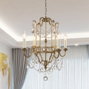 Countryside Candle Chandelier Lighting 4 Lights Iron Pendant Lamp with Crystal Chain and Framework in Gold