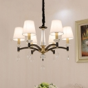 White 6 Lights Pendant Lamp Country Style Handmade Fabric Cone Shade Chandelier with Crystal Accent