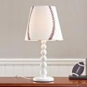 Faux-Knitting Conical Night Lamp Minimalist Fabric Single White Table Lighting for Child Bedroom