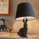 Resin Rabbit Nightstand Lamp Minimalism 1 Head Table Light with Conic Fabric Shade in Black