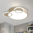 Cartoon Mouse Acrylic Ceiling Lamp Integrated LED Flush Mount Recessed Lighting in Blue/White/Pink
